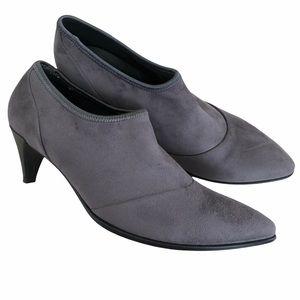 Ecco Danish Design Grey Plush Slip On Heels ankle
